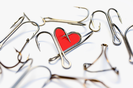 Abstract heart from hooks on a white background