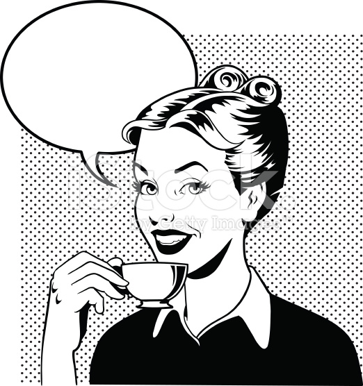 stock-illustration-68280667-retro-woman-drinking-coffee-in-black-and-white